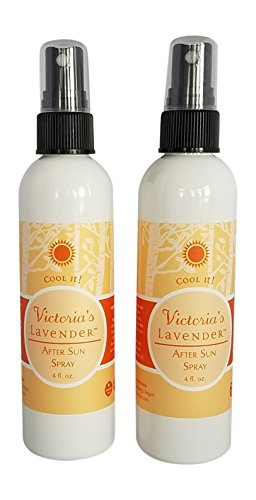 Victoria's Lavender ORGANIC ALOE VERA SUNBURN AND HOT FLASH RELIEF All Natural After Sun Spray With PURE LAVENDER ESSENTIAL OIL Handmade in Oregon USA 2 pack - Very Sexy For Her Body Spray