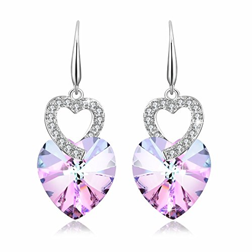 (Earring For Mom PLATO H Heart of Ocean Earrings with Swarovski Crystals Fashion Jewelry Earring Heart Shape Earring for Her Purple Pink)