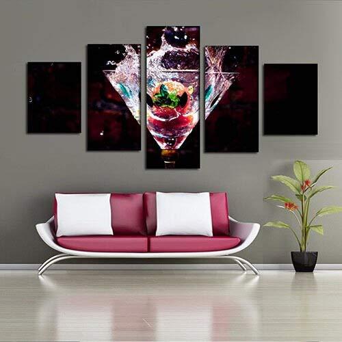 mmwin Resumen 5 Paneles de Copa de Vino con Pinturas de Frutas ...