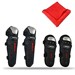 AllExtreme EXKEG4B Stainless Steel Breathable Adjustable Knee & Elbow Pads Protection Motorcycle Racing Riding Unisex…