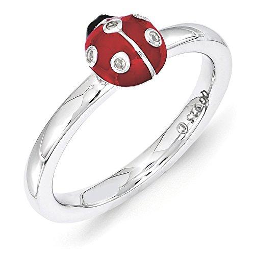 Custom Diamond Bezel (Sterling Silver Stackable Enamel .015Ctw Diamond 7mm Ladybug Ring Sz 5)