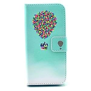 WQQ volando diseño colorido globo caja de cuero de la PU con el soporte y la ranura para tarjeta para el iphone 5 / 5s
