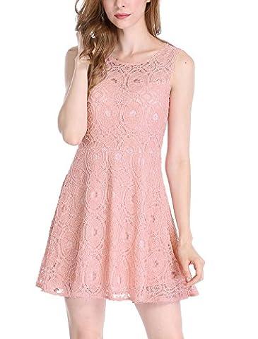 Allegra K Women's Sleeveless Semi Sheer Yoke Floral Lace Mini Flare Dress M Pink - Flare Mini Dress