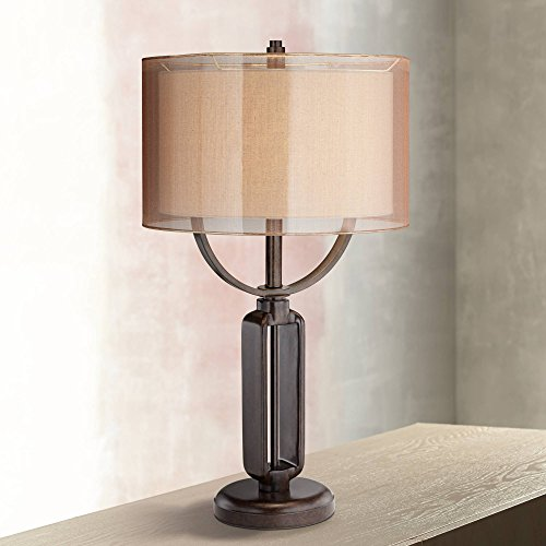 Monroe Modern Industrial Table Lamp Oil Rubbed Bronze Metal Sheer Double Shade for Living Room Family Bedroom Bedside - Franklin Iron ()