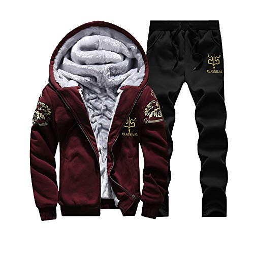DaySeventh Mens Hoodie Winter Warm Fleece Zipper Sweater Jacket Outwear Coat Top Pants Sets