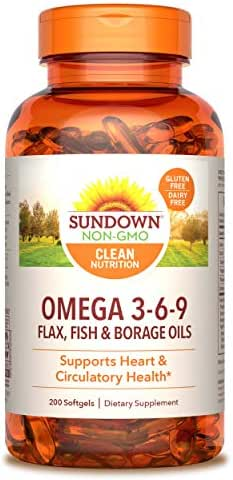 Sundown Triple Omega 3-6-9, Heart and Circulatory Health, 200 Softgels (Packaging May Vary)