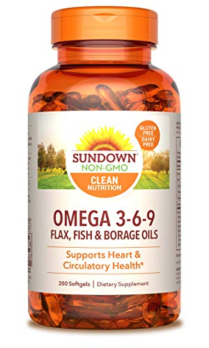 Sundown Naturals Triple Omega 3-6-9, 200 Softgels (Packaging May Vary)