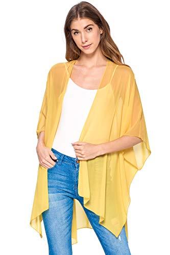 Modern Kiwi Solid Sheer Chiffon Kimono Cardigan Gold One ()