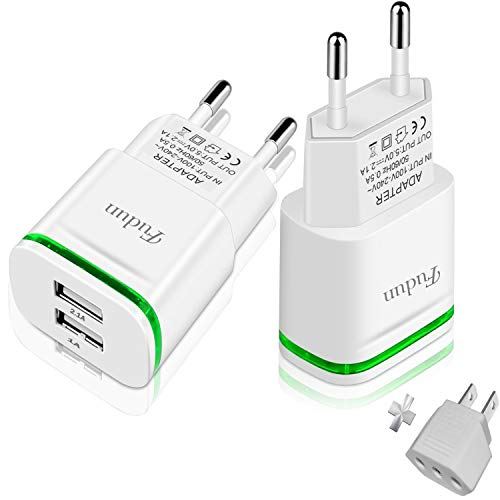 European Plug Adapter, Europe Travel Charger 2-Pack 2.1A/5V LED Dual USB Wall Charger Power Adapter