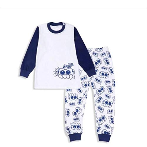 Googly Eyes Cute Spider Kids 2-Piece Pajama Set (5T) Blue, White