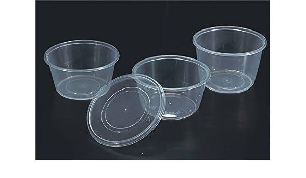 25 x oz de microondas de plástico transparente vasos con lids ...