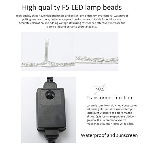 EKUPUZ LED String Lights String Light Starry,8 Modes 200 LED 24V with Multi Flashing Modes Controller for Wedding Party Home Garden Patio