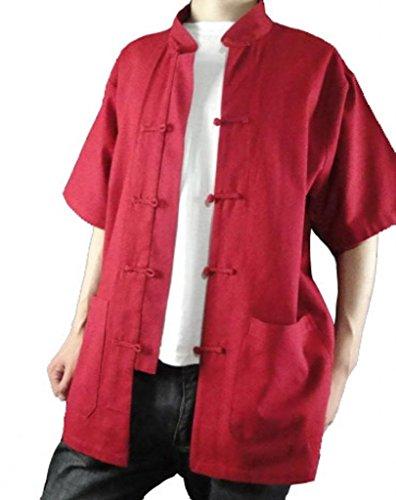 Feinem Handgefertigt 115 Rot Chi Rotes Hemd auf Leinen Tai Maßgeschneidertes qAYwZW