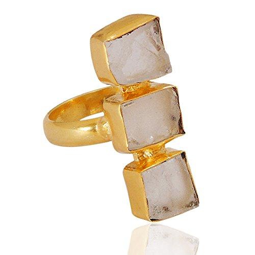 Handmade 18k Gold Vermeil Rough Crystal Quartz gemstone Statement Ring For Boxing Day Gift Ideas