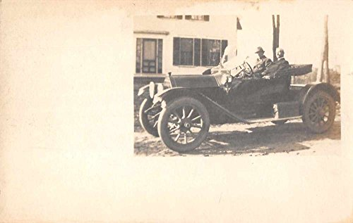 View of two older men sitting in early model automobile real photo pc - Mens Photos Models