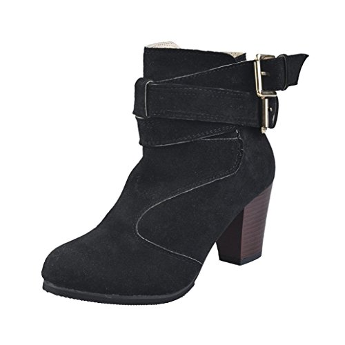 Women Belt Buckle Ladies Artificial leather Faux Boots Ankle Boots High Heels Martin Shoes MML Black cvwH02g