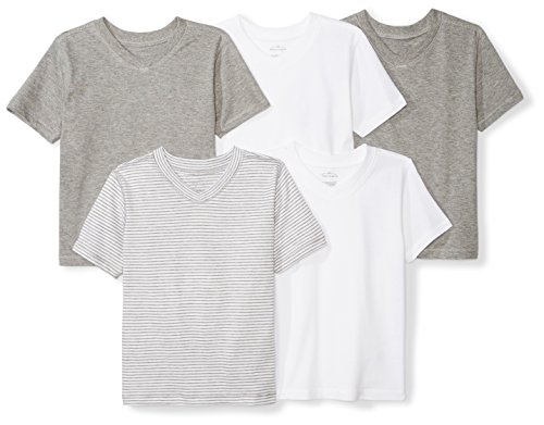 Moon and Back Set of 5 Organic V-Neck Short-Sleeve T-Shirts, Grey Multi, 24 Months ()