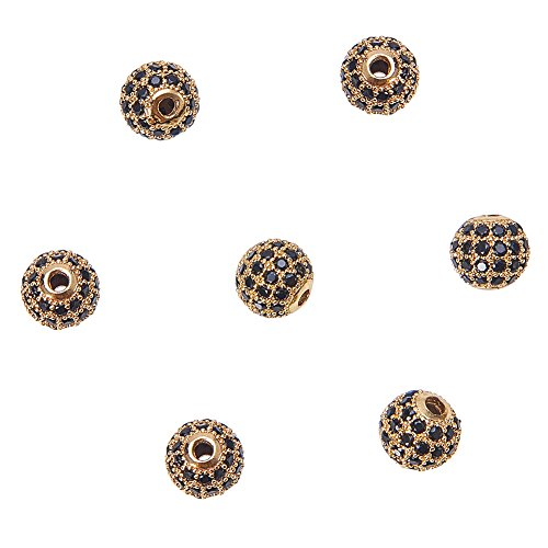 NBEADS 10pcs 8mm Brass Clear Gemstones Cubic Zirconia CZ Stones Pave Micro Setting Disco Ball Spacer Beads, Round Bracelet Connector Charms Beads for Jewelry - Disco Balls Wholesale