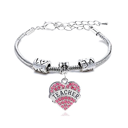 Crystal Bracelet Family - Bracelet for Teacher Pink Crystal Love Heart Charm Pendant Beads Silver Bangle Gift