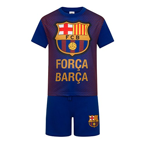 fan products of FC Barcelona Official Soccer Gift Boys Sublimation Short Pajamas Blue 10-11 yrs
