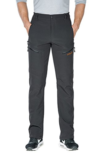 Nonwe Mens Snow Skiing Pants Winter Water Resistant Zipper Pockets Fleece Lined Gray 32W x 34L