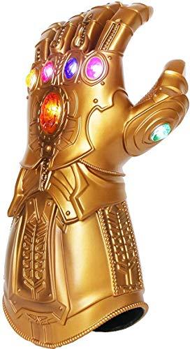 Iron Man Infinity Gauntlet para ninos con 2 pilas recambio, Iron Man Glove LED con piedras para ninos 0-12