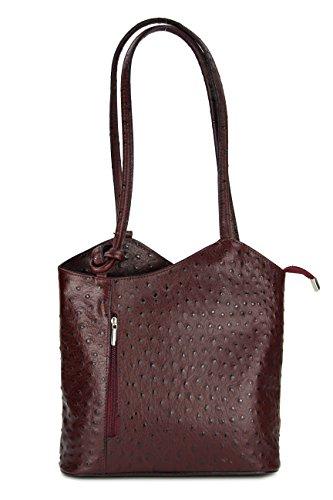 Belli - Bolso mochila  para mujer Negro Maronenbraun 28x28x8 cm (B x H x T) Braun strauss (kastanienbraun)