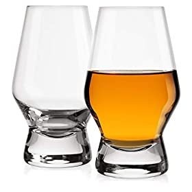 JoyJolt Halo Crystal Whiskey/Scotch Glasses set of 2. Perfect Whisky Glass for Liquor or Bourbon Tum