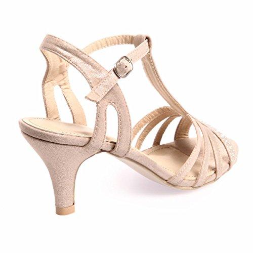 La Modeuse Sandalias con tacón aspecto brillante de strass, color gris Marrón - marrón