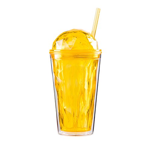 Diamond Tumbler - Bewaltz Diamond Crystal Double Wall To Go Cold Cup Tumbler with Straw BPA Free 16 oz. (Yellow)