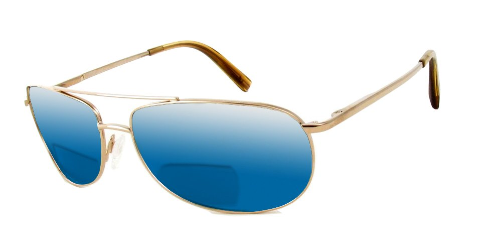 Reptile Serpent Polarized Bi-Focal Reading Sunglasses in Gold w/Blue Mirror Lens +1.50 by Reptile