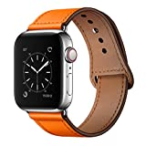 YALOCEA Compatible with iWatch Band 42mm 44mm, Genuine Leather Band Replacement Strap Compatible with Apple Watch Series 4 Series 3 Series 2 Series 1 42mm 44mm, Orange