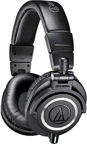 Audio-Technica ATH-M50x Professional Studio Monitor Headphones, Black - Black Professional Dj Lighting