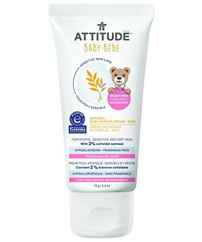 Attitude Natural Baby Diaper Cream - Zinc, Fragrance Free, 2.5 Ounce
