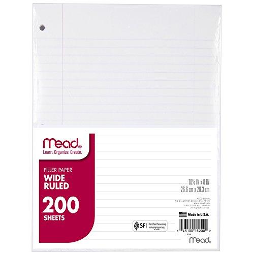 Mead MEA15200BN Filler Paper, Wide Rule, 10-1/2 X 8, 200/PK, MultiPk 12 Packs/CT