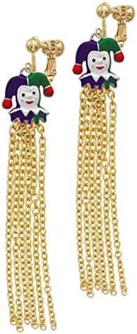Mardi Gras Jester Gold Tone Chain Tassel Clip On Earrings