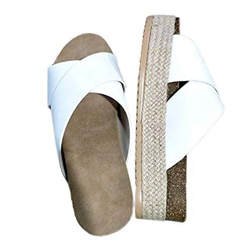 - Hurber Women\'s Platform Espadrilles Criss Cross Sandals Slide-on Open Toe Faux Leather Studded Summer Shoes (White,8B(M) US-EU Size 39)