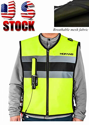 MOTORFANSCLUB Motorcycle Airbag Vest Airbag Jacket Cycling Safety Vests Unisex-Adult (Yellow, Large Plus)