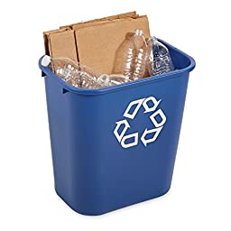 Rubbermaid FG295673 Blue Medium Deskside Recycling Container with Universal Recycle Symbol, 28-1/8 qt Capacity, 14.4\