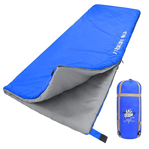 Forbidden Road 380T Nylon Portable Sleeping Bag Single 0 ℃/ 30 ℉(5 Colors) Lightweight Water Resistent Envelope for Man Woman 4 Seasons Camping, Hiking, Backpacking (Blue, 0℃ / 30℉)