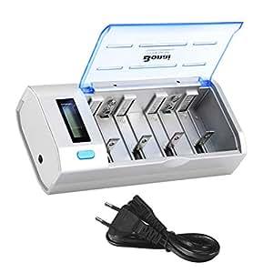 BONAI 9V CD Pilas Recargables AA/AAA Universal Cargador, Puertos de USB, Pantalla LCD y Función de Descarga