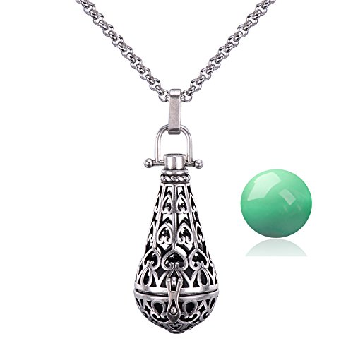 Mexican Silver Necklace - Candyfancy Antique Silver Teardrop Pendant 16MM Harmony Music Ball Mexican Bola Locket Pregnancy Necklace 30