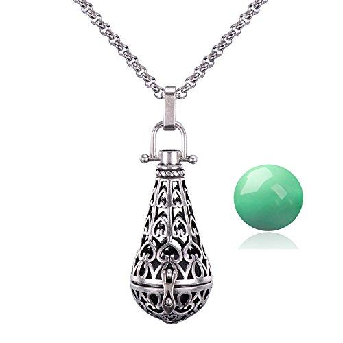 Drop Teardrop Necklace - Antique Silver Teardrop Pendant 16MM Harmony Music Ball Mexican Bola Locket Pregnancy Necklace 30