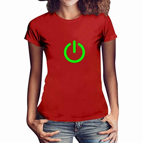 Sunhusing Summer Womens Fluorescent Color Power Button Print Round Neck Short Sleeve T-Shirt Slim Joker Top Red ()