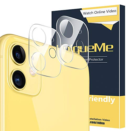 [ 2 Pack ] UniqueMe for Apple iPhone 11 Camera Lens Protector Tempered Glass, HD Clear [New Version] Add Cameras Flash Circle from UniqueMe