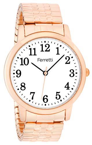 Ferretti Unisex | Classic Rose Gold-Tone Expansion Bracelet Big Number Watch | FT16104