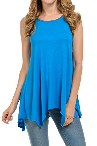 Shamaim Womens Sleeveless Flattering Comfy Tunic Loose Fit Flowy Top Turquoise 2X-Large (Turquoise Top Sleeveless)
