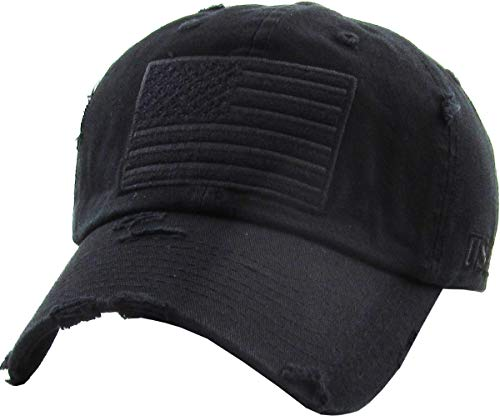 KBVT-209 BLK Tactical Operator with USA Flag Patch US Army Military Baseball Cap Adjustable (Distressed Patch)