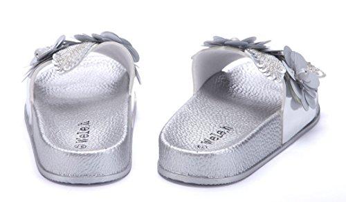 abffe07321911c Schuhtempel24 Damen Schuhe Pantoletten Sandalen Sandaletten Flach  Blumenapplikation Ziersteine Silber ...