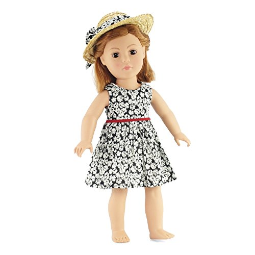 "Black Floral Dress Outfit Includes 18"" Dolls Accessories"